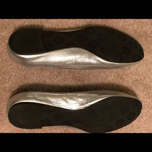 Tory Burch silver Minnie flat